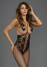 Open-Cup Bodystocking - Black
