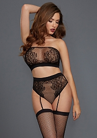 Fishnet and Lace Bandeau Bralette Set - Black