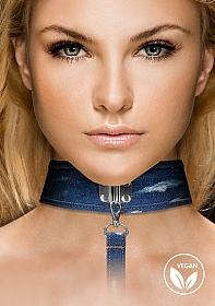 Denim Collar - With Leash - Roughend Denim Style - Blue