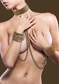 Collar With Handcuffs - Brown