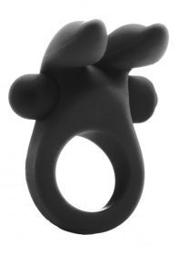 Bunny Cockring with Stimulating Ears- Black
