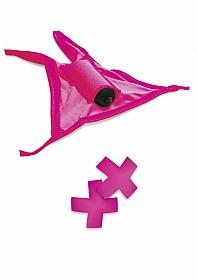 Vibrating Crotchless Panty / Pasties Pink