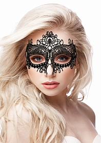 Queen Black Lace Mask  - Black