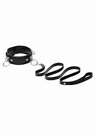 3 Ring Leather Collar with Leash - Black