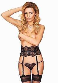 CAMPANA Elegant Lace Garterbelt with Stockings - Black
