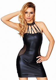 MARICA Sexy High Neck Fishnet and Wetlook Dress - Black