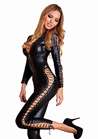 SHEILA Lace-Up Wetlook Catsuit - Black