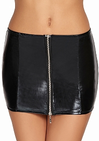 CHONE Short Wetlook Zipper Skirt - Black