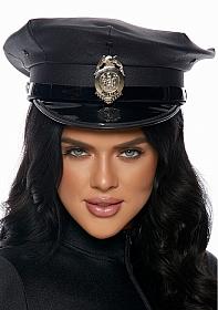 Vinyl Patrol Hat with Badge - Black