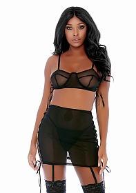 Put O-ring On It Lingerie Skirt Set - Black