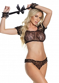 Crop Top & G-String, Wristband - Black
