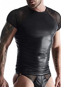 Wetlook & mesh Men's raglan sleeve t-shirt - Black